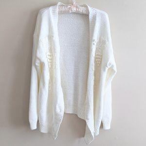 Vintage Cream Knit Oversized Cardigan Sweater